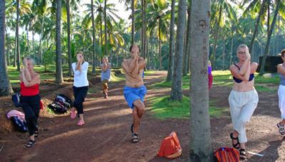 yogagrupp gör en stående övning under palmerna